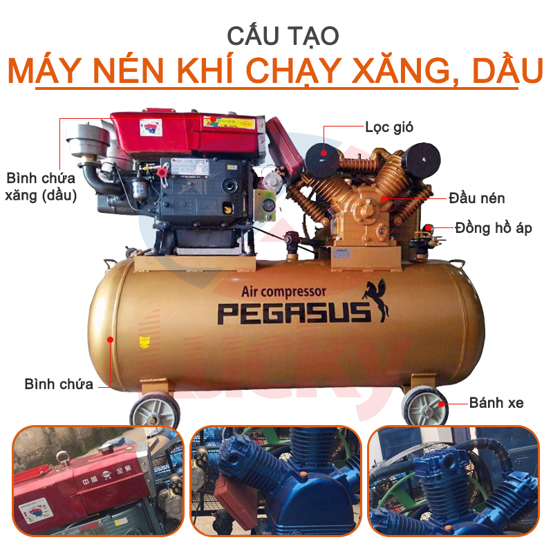 Cấu tạo máy nén khí chạy dầu